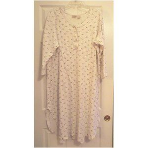 L.L. Bean Intimates & Sleepwear - L.L. Bean Off White Long Floral Nightgown
